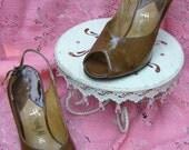 Frank More Stiletto Brown Patent Sling Back Heels, 5M-SPRING SALE