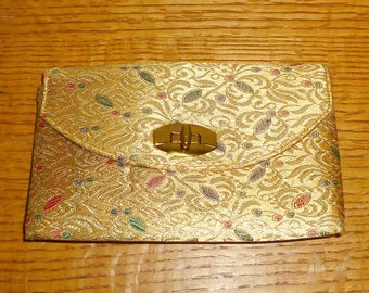 MAJESTIC Metallic Gold Evening Bag, Clutch, Purse, Mid Century, Vintage