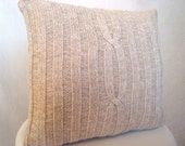 Gorgeous White & Tan Speckled Cable Knit Sweater Pillow