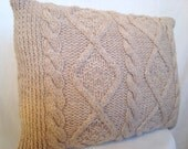 Gorgeous Tan Natural Cable Knit Sweater Pillow
