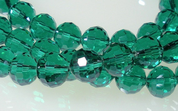 Chinese Crystal Glass Emerald Faceted Rounds 10mm  BUY IN AMERICA