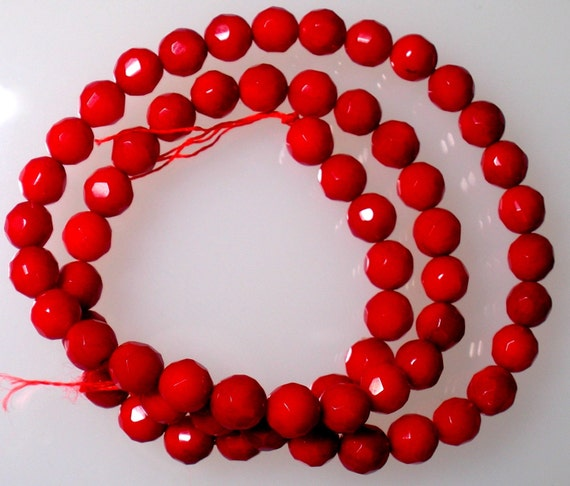 Red CORAL Faceted Rounds approx 6mm