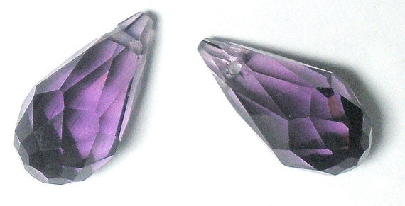 See Note-Quartz Glass Crystal Faceted Briolettes AMETHYST Approx 14x7mm-See Note