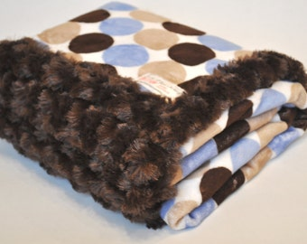 Minky Baby Blanket Mod Dot in Baby Blue, Brown and Beige for Boys..Great Gift Idea..READY TO SHIP!