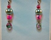 Pink and Grey Glass Earrings