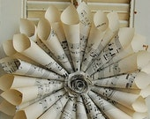 Paper Wreath Cone Wreath Vintage Sheet Music  with Rose New Larger Size-12""