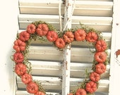 Autumn Heart Wreath with  Mini Pumpkins Putka Pods Flower Girl Hostess Gift
