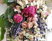 Spring Dried Flower Bouquet with Dried Roses and Peonies / Cottage Chic Bouquet