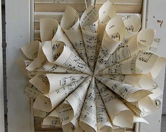 Vintage Sheet Music Wreath / Paper Wreath / Home Wall Decor / Vintage Wedding Decor / Music Gift