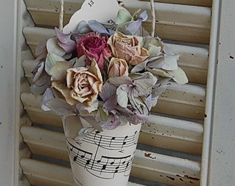 Vintage Hymnal Sheet Music Cone with  Dried Roses / Dried flower /