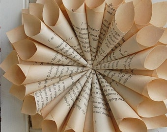 Book Paper Wreath  / Vintage Book Page Wreath  / Book Lover Wreath /  Rustic Book Wreath