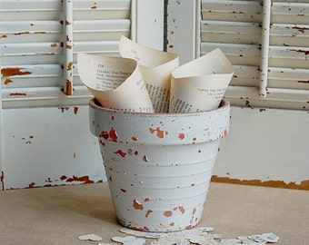 "50 -Petite Wedding Toss Cones /  Petal Toss / Book Page Confetti Cones /  5-6"" New Size"