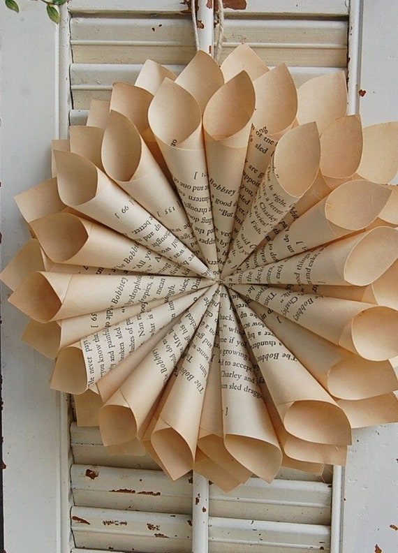 Image result for book page wreath
