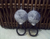 Silver Bead and Black Coil earrings
