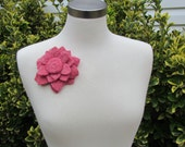 Flower Pin Brooch Wool fashion accessory rose mauve pink