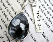 Teardrop Photo Locket Antiqued Glass Personalized Mothers Sterling Tag Charm ..Perfect Gift for New Moms Sweethearts