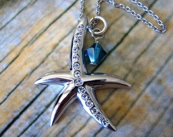 Starfish Necklace with Icy Blue Crystal