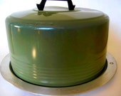 Cake carrier- Aluminium with Avocado Green cover and black handle- Made by Regal Ware