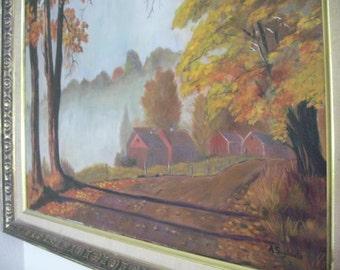 Landscape Autumn trees - Original Oil Painting on canvas - Anne Tabata Sugishita c.1960s