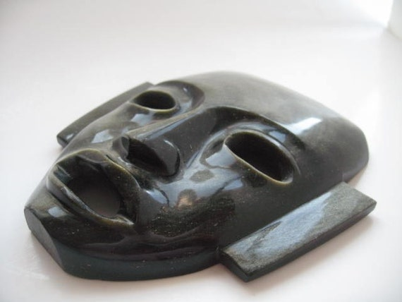 Aztec Mask Wall Hanging Black Obsidian Teotihuacan Mexico