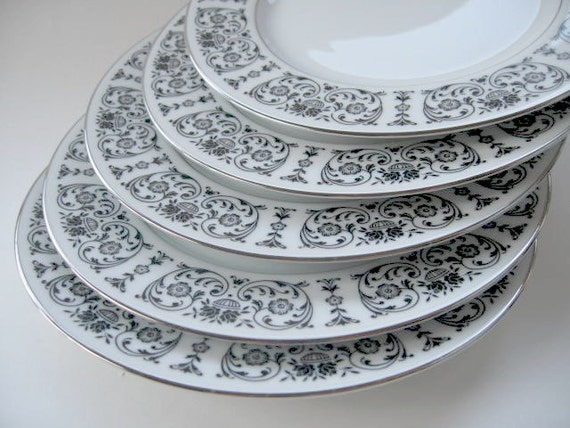 SALE -Salad Plates- Set of five  Salad plates -White with black scroll and flowers with platinum trim- Royal Song Trousseau Fine China