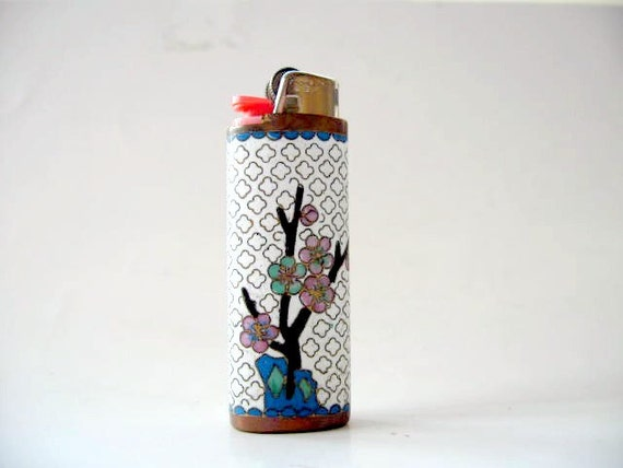 Lighter cover - White Cloisonne and brass lighter cover