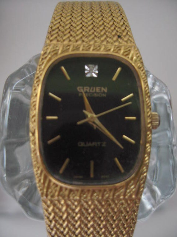 Watch With Gold Tone Band Gruen Precision Diamond Quartz