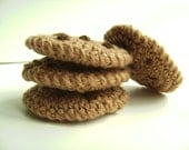 Amigurumi Crochet Chunky Chocolate Chip Cookies Play Food - Set of 4 Crochet Cookies Gift Under 20 Children Play Kitchen Plushie Cookies