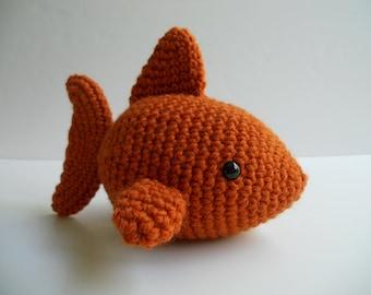 Amigurumi Crochet Burnt Orange Plush Fish Kawaii Plush Fish Stuffed Animal Goldfish Gift Under 25 Nursery Decor Fish Plushie Goldfish Toy