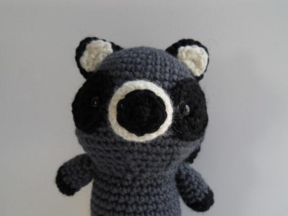 Amigurumi Raccoon : Amigurumi Crochet Raccoon Plush Kawaii Plush Raccoon Nursery