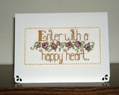 Enter with a Happy Heart - Inspirational Love Happy Heart Handmade Cross Stitch card