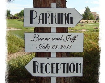DiReCTioNaL WeDDiNg SiGnS - The Great Gatsby Art Deco Styled - CuSToM WeLCoMe ReCePTioN SiGn - Wedding Parking Signs - 4ft Stake
