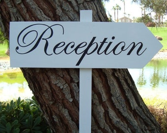 ReCepTioN SiGn - DiReCTioNaL WeDDiNg SiGnS - CLaSSiC StyLe - Custom Wedding Arrow SIGNS - 4ft Stake - NO Distressing