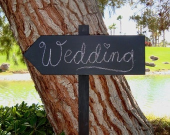 CHaLkBoaRd Sign Stake - DiReCTioNaL WeDDiNg SiGnS - Wedding Arrow SIGNS - Stake Chalkboard Sign on 4ft Stake - CHARCOAL BLACK - 17 X 5
