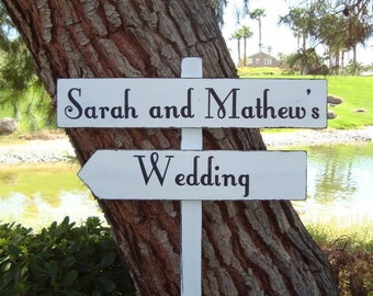 DiReCTioNaL WeDDinG SiGnS - Names with Phrase - Fairy Tale Lettering - Custom Wedding Arrow SIGNS - 4ft Stake