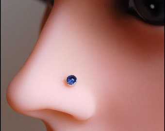 Iolite Nose Stud Set in Sterling Silver - CUSTOMIZE