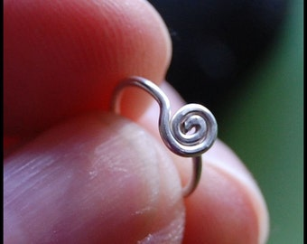 Sterling Medium Spiral Catchless / Seamless Nose Ring - CUSTOMIZE