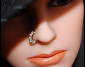 Sterling Beaded Wire Wrapped Catchless / Seamless Nose Ring - CUSTOMIZE