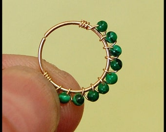 Malachite and Gold Filled LUCK of the Irish Catchless / Seamless Nose Ring - CUSTOMIZE