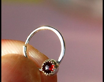Garnet Catchless / Seamless Nose Ring - CUSTOMIZE