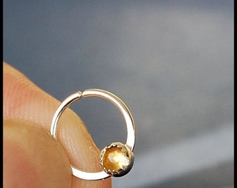 Citrine Catchless / Seamless Nose Ring - CUSTOMIZE