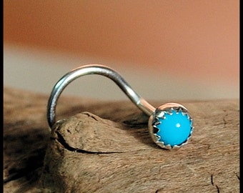Turquoise Nose Stud / Nose Screw in Sterling Silver Serrated Bezel - CUSTOMIZE