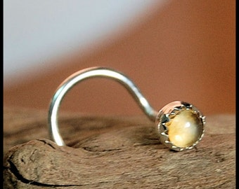 Nose Screw / Nose Stud / 3mm Citrine in Sterling Silver Serrated Bezel - CUSTOMIZE