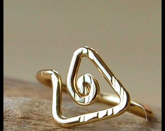 Tribal Triangle Yellow Gold Filled Catchless / Seamless Nose Ring - CUSTOMIZE