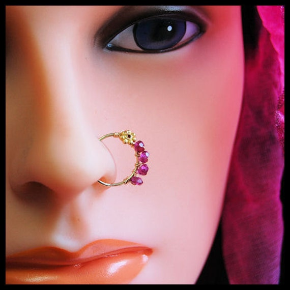 Gold Filled Nose Nath in Mini - Vermeil Flower and Rhodolite Garnet Catchless Nose Ring