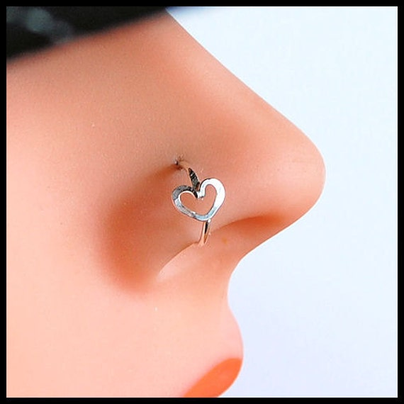 Nose Ring / Argentium Silver - Tarnish Resistant / Hammered Heart / Catchless / Seamless- CUSTOMIZE
