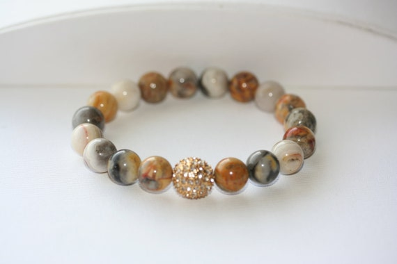 Crazy Lace Agate Gemstone and Gold Pave' Crystal Bracelet