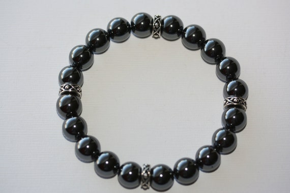 Men's Hematite Gemstone and Silver Bracelet