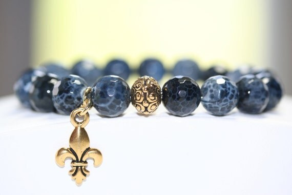 Blue Jean Blue Crackle Fire Agate Faceted Gemstone Bracelet