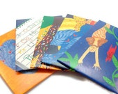 Handmade Envelopes - Very colorful - Set of Five (5) - Mermaid and Other Images